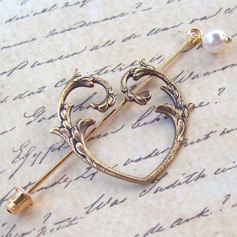 bf60fa17e8f Victorian Heart Shawl Pin Heart Lapel Pin gold shawl pin | Etsy