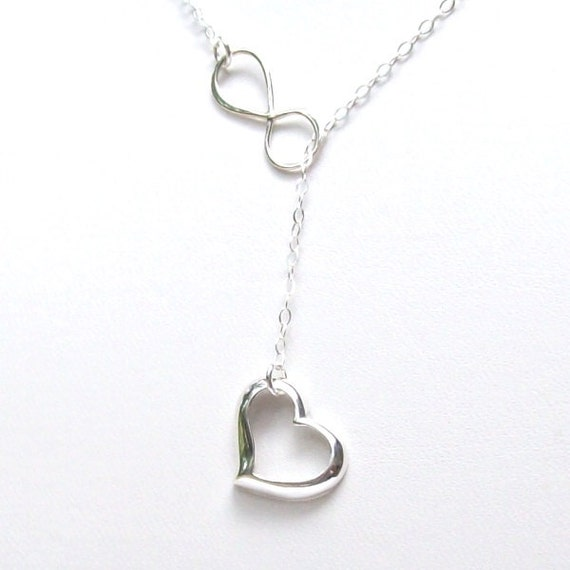 Spring Nautical Infinity Necklace Sterling Silver Infinity Lariat Necklace Weddings Bridal