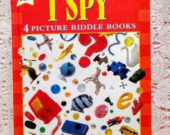 JUNE SALE 30% Off I Spy;4 Picture Riddle Books in One~Vintage Children's Book