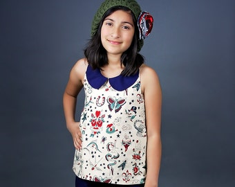 Sparrow's Tween A-Line Halter Top, Tunic, and Dress PDF Pattern Sizes 7/8 to 15/16 girls