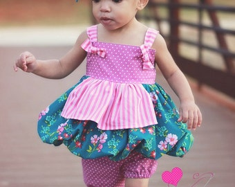 6030b063e9f6 Baby Darcie s Apron Bubble Knot Top PDF Pattern Sizes newborn to 18 24 mos