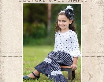 Jenna's Lace Single Ruffle Pants and Capris PDF Pattern size Newborn to 8 Kids Plus Free Doll Pattern