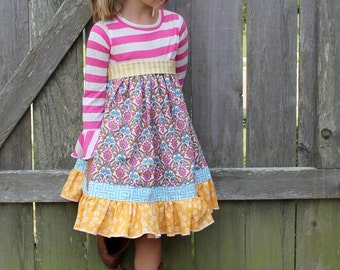 Cosette's Knit and Woven Dress PDF Pattern sizes 2T to 8 girls