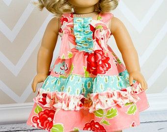 Aubrey's Doll Size Tiered Ruffled Knot Dress PDF Pattern for 15- and 18-inch Dolls