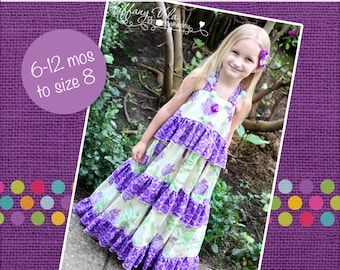 Julia's Twirly Maxi Dress PDF Pattern sizes 6-12 months to 8 girls