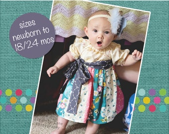 Baby Jewel's Stripwork Dress PDF Pattern Sizes Newborn to 18/24m