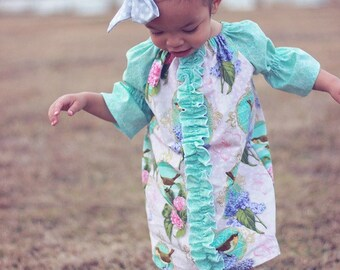 Merideth's Baby's Center Ruffle Peasant Dress and Top PDF Pattern size newborn to size 18-24 months