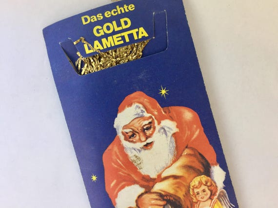 Vintage Gold Tinsel, Lametta Icicles, German Santa Christmas, Tinsel Packet, Retro Mid Century Germany Christmas