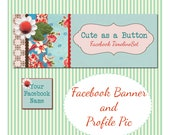 Facebook Timeline Cover and Avatar quot Cute as a Button quot - Pre-made Vintage Floral Design