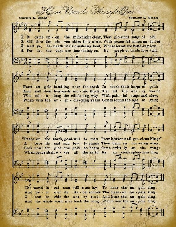 Grungy Aged Vintage Christmas Carol Music Digital Sheet Etsy