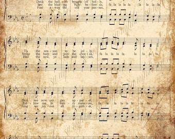 Grungy Aged Vintage Christmas Carol Music Digital Sheet  INSTANT Printable Download 2 Sheets Deck the Halls and God Rest Ye Merry Gentlemen
