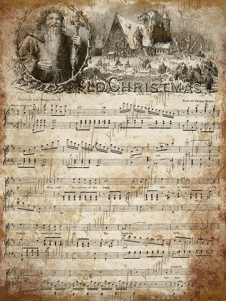picture about Printable Christmas Sheet Music referred to as Grungy Old Basic Xmas Carol New music - Fast Printable Obtain 2 Sheets - Previous Xmas and Tranquil Night time