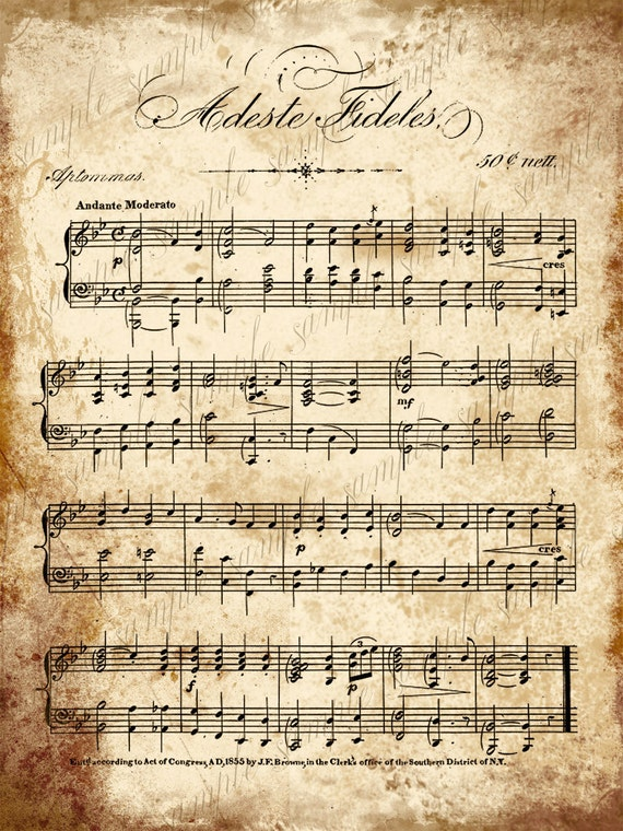 Christmas Music Sheets Printable.Grungy Aged Vintage Christmas Carol Music Digital Collage Sheet Instant Printable Download 2 Sheets Adeste Fideles And Christmas Carols