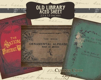 Vintage Book Covers Digital Collage Sheet - 2.5 x 3.5 Inch Images ACEO ATC -  INSTANT Printable Download