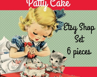 "Etsy Shop Banner Set Pre-made Cute 1950s Cake Decorating Design - 6 Pieces  Great for Bakeries -""Patty Cake"""