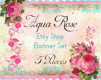"Etsy Shop Banner Set w/ New Size Cover Photo Vintage Pink Roses ""Aqua Rose"" - Pre-made Aqua and Pink Design - 6 Piece Set"