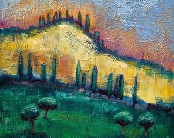 "Tuscan Hills I Large Encaustic Wax Landscape Painting 36x36"""