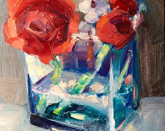 "Beautiful"" Still Life With Ranunculus trio""mosaic look expressionist Still life alla prima oil Painting impressionist"