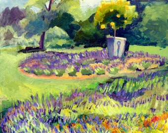 "SALE ""Carousel Lavender Farm Labyrinth with Orange Tree, Original Oil  Expressionist Plein Air Painting Impressionist"