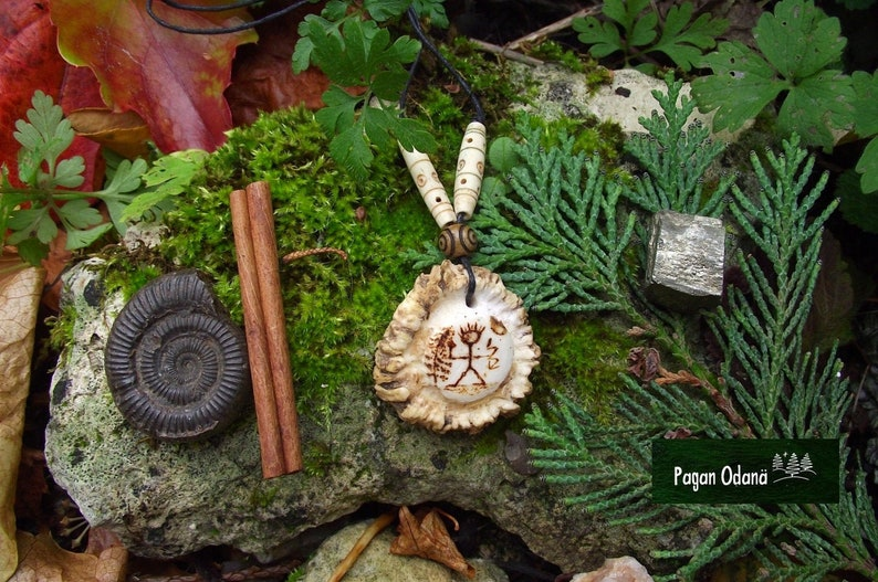 Thor necklace in deer antler  Norse god tribal pendant image 0