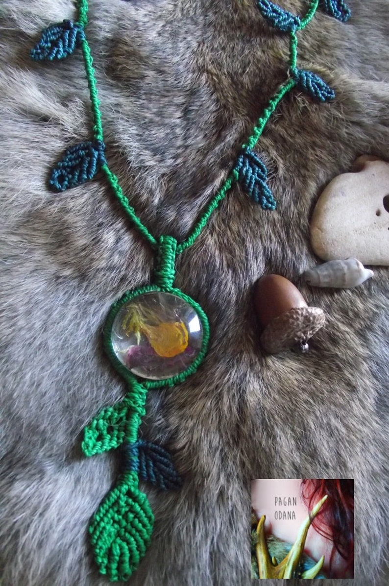 Flowers and herbs necklace Forest fae necklace Natural image 0