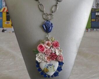 "Collier pendentif ""coeur steampunk bleu"""