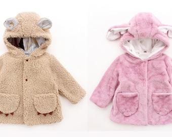 BUDDY BUDDY Kids Jacket pattern Pdf sewing, Baby Children Reversible Hooded Jacket, Bunny and Bear Jacket, Toddler, newborn up to 10 yrs