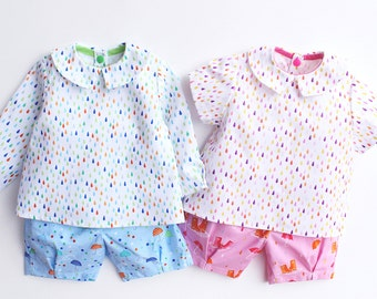 PITTER Shorts pattern and PATTER Shirt pattern Pdf sewing, BUNDLE, Baby Boy Girl, Easy Blouse Top, toddler newborn up to 6 yrs
