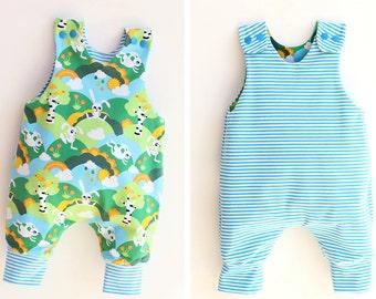 JUMPY Baby Romper sewing pattern Pdf, REVERSIBLE Jersey Woven Harem romper, Children Baby Boy Girl romper, Toddler romper, newborn to 6 yrs