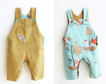 AHOY LINED Reversible Romper pattern Pdf sewing, Toddler Baby Boy Girl Dungaree Jon Jon Jumper, Leg opening, newborn up to 4 years