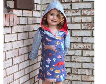 Girl HOODED Dress pattern Pdf sewing, SNOW WHITE Long Sleeve Dress, Knit Jersey Dress, size 3 4 5 6 7 8 9 10 yrs Instant Download