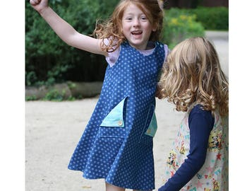 Girl Baby Girl Dress sewing pattern Pdf, REVERSIBLE Pinafore Woven or Knit Jersey ALISHA, A line Dress with Straps, newborn dress 0 - 10 yrs