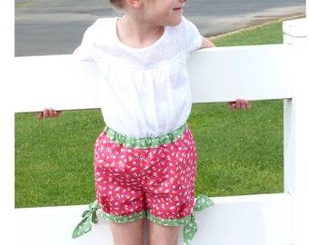 Girl Shorts pattern Pdf sewing pattern, plus Shirt Applique, FUNNY Girl toddler Shorts, Girls size 3 4 5 6 7 8 9 10 years