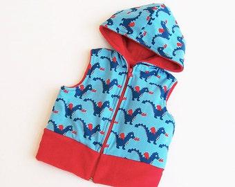 Boy Girl DRAGON Hooded Vest Children pattern Pdf sewing pattern, Hooded Knit Jersey Fleece or Woven, Toddler, newborn -10 years