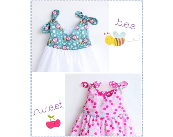 Bee Sweet Baby Girl Dress Sewing Pattern Pdf Overall Knotted Etsy