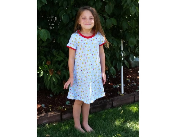 Colleen Girl Dress Sewing Pattern Pdf Easy Knit Dress Etsy