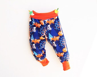 NIGHTFOX Boy Girl Harem Pants sewing pattern Pdf, Knit Jersey Fleece Woven, Easy pants pattern, Toddler Kids 3 4 5 6 7 8 9 10 years