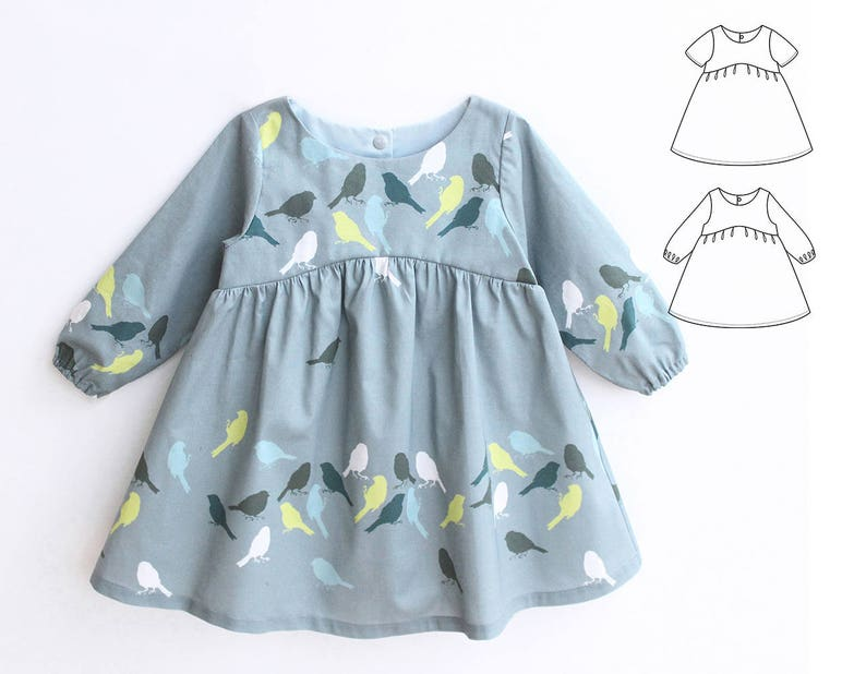 d14fdae07cb08 BLUE TIT Girl Baby Girl Dress pattern Pdf sewing, Woven Dress, Short and  Long Sleeve, Toddler dress, newborn dress 0 - 10 years