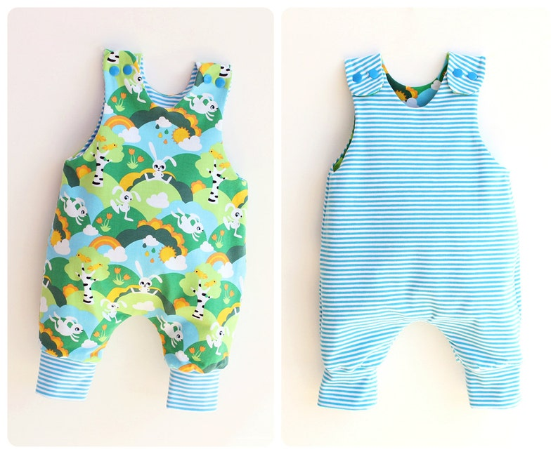 94cb45f090cd JUMPY Baby Romper sewing pattern Pdf REVERSIBLE Jersey Woven