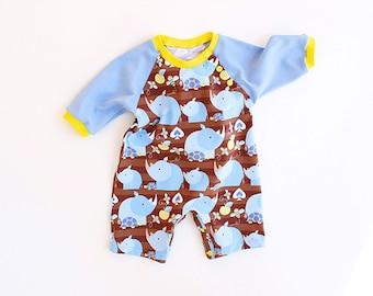 RHINO Baby ROMPER sewing pattern Pdf, Jumper, Knit, Kimono Long sleeve, toddler, Baby Girl Boy newborn 3 6 9 12 18 m 2 yrs Instant Download