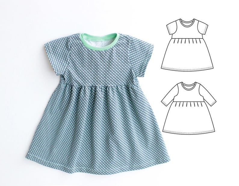 0b2448ca195ea Puperita DOTTY Girl Baby Girl Dress pattern Pdf sewing, Knit Jersey Dress,  Short and Long Sleeve, Toddler newborn dress 0 - 10 years