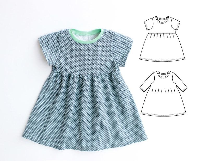 7f09db8a6 DOTTY Girl Baby Girl Dress sewing pattern Pdf Knit Jersey | Etsy