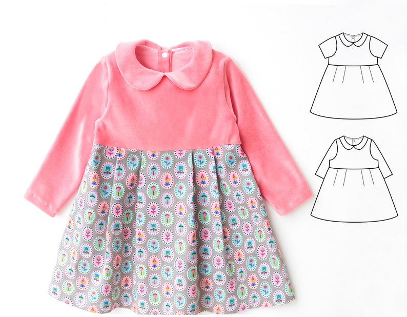 0e4fba14eff5c PAULINE Girl Baby Girl Dress pattern Pdf sewing, Jersey Knit Dress, Peter  Pan collar dress, Short and Long Sleeves, toddler newborn - 10 yrs