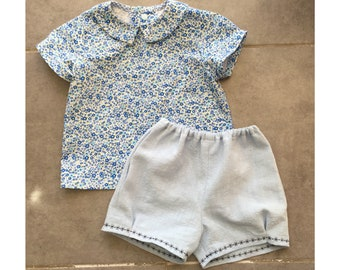 BUNDLE Shirt and Shorts pattern Pdf sewing, PITTER PATTER Baby Boy Girl, Top and Shorts, Short and Long Sleeves, toddler newborn up to 6 yrs