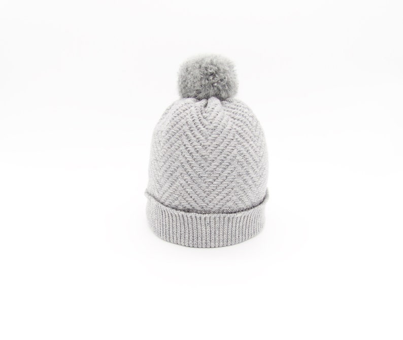 cfb860521 Pure Cashmere Hat Grey Knit Beanie Cashmere Knit Hat Herringbone Knit  Bobble Hat Cashmere Beanie Pom Pom Hat Cashmere Hat Mohair Beanie Knit