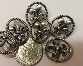 6 -  Pewter Oval Fleur-de-Lis Buttons size 17mm x 15mm