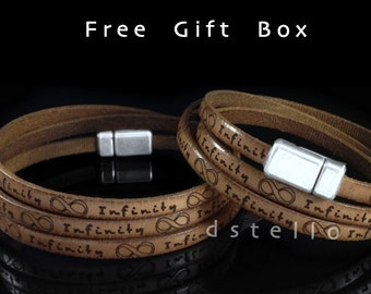 2 x Infinity bracelet leather, Couple bracelets, His and her wrap bracelet, Matching bracelets, Anniversary, Birthday, Fathers day gifts