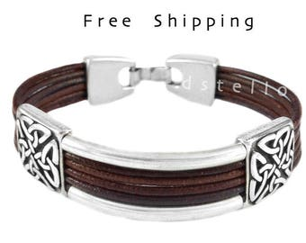 Fathers day gifts, European celtic bracelet, celtic leather bracelet, celtic knots, Custom made - Anniversary gift for him - Her -  leather