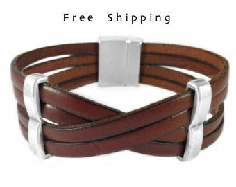 Fathers day gifts, mens leather bracelet, Anniversary gifts - Leather bracelet, Wrap leather cuff - Unisex - Quality antique silver plated