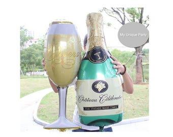Whiskey Champagne Wine Bottle Glass Balloon Birthday Party Engagement Wedding